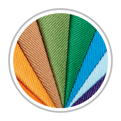 Circle displaying an arranged fan of many fabric colors