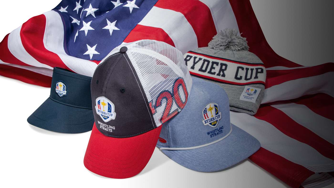 A collection of Ryder Cup by Pukka hats on the American flag