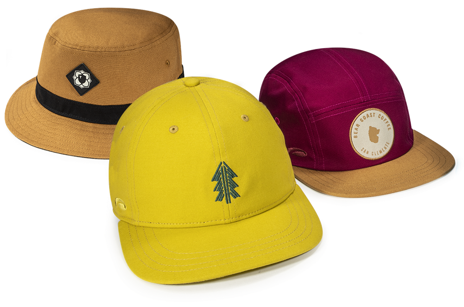 A Group of Organic Canvas Headwear