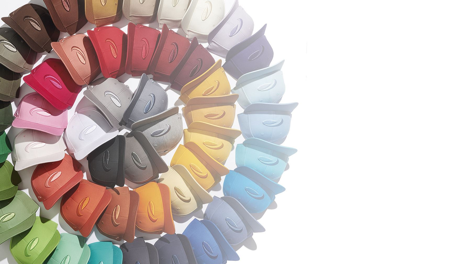 Color wheel of cotton twill flat brim hats