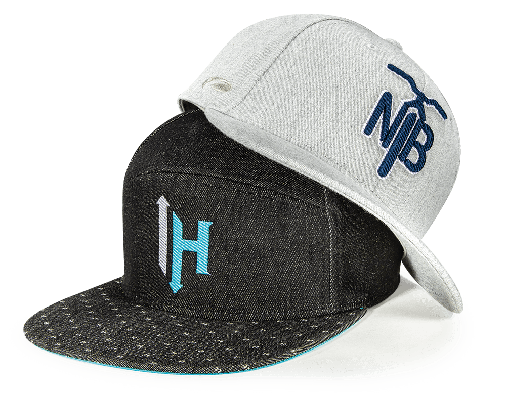 Pair of hats with diagonal stitch embroidered logos