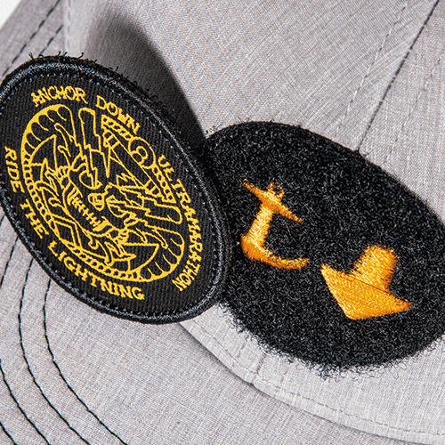FLAT EMBROIDERY ON VELCRO PATCH WITH REMOVABLE EMBROIDERY ON FABRIC PATCH WITH MERROWED EDGE