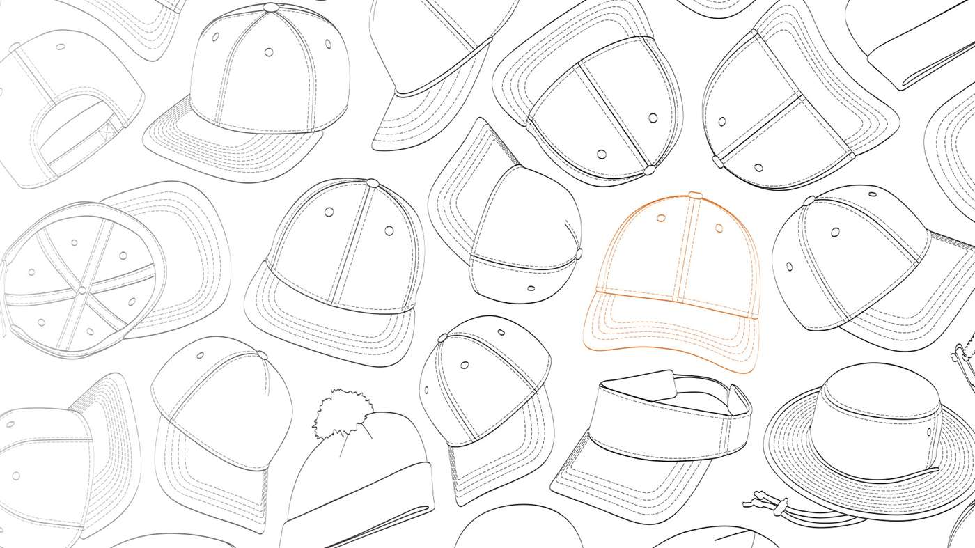 Illustrations of various custom headwear silhouettes