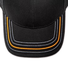 Pukka hat, visor stitching, 4 rows, 1 thick satin stitch with 3 contrast stitches, 2 color