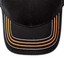 Pukka hat, visor stitching, 4 rows, 2 thick satin stitch and 2 contrast stitches, 2 color