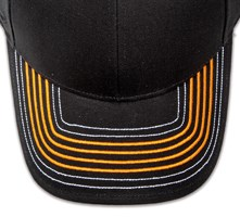 Pukka hat, visor stitching, 8 rows, 4 thick satin stitch and 4 contrast stitches, 2 color