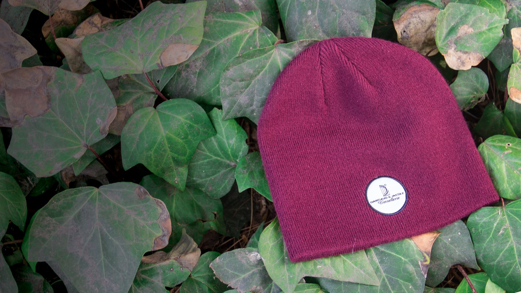 Skully / Beanie Knit hat laying on bed of green ivy